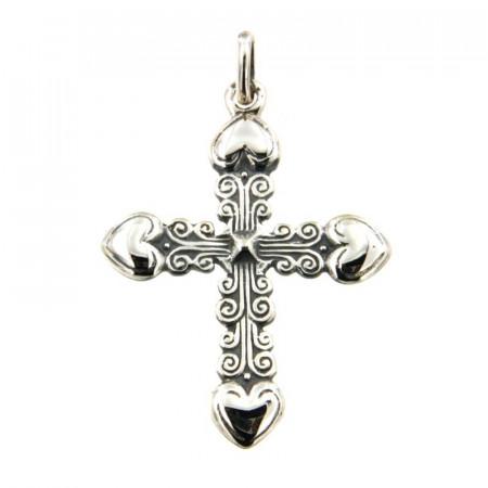 Croix Argent 4 COEURS
