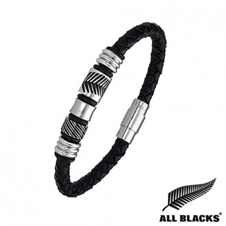 Bracelet ALL BLACKS Cuir tressé Perles Feuilles