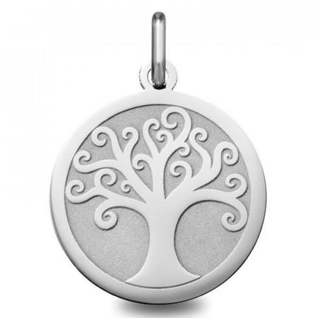 medaille bapteme arbre de vie Or blanc 18 carats