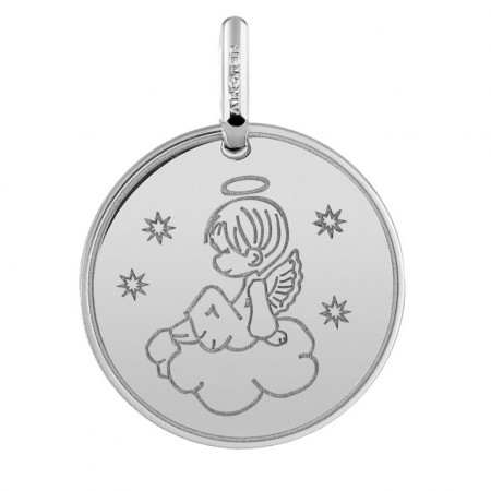 Médaille ANGE sur nuage Or blanc 750°°°