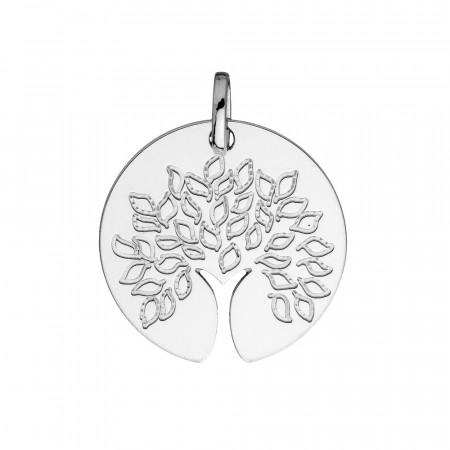 Médaille ARBRE DE VIE découpe tronc Or blanc 750°°°