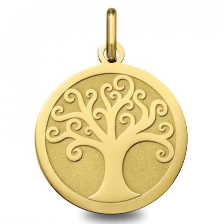 medaille bapteme arbre de vie Or jaune 18K