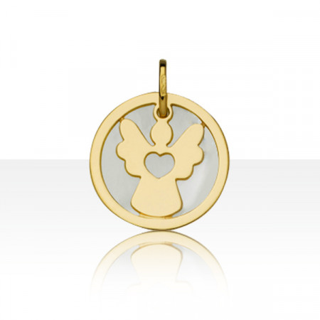 Médaille de bapteme NACRE ANGE COEUR Or 750°°°