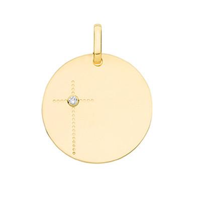 Medaille bapteme Croix Or 18 carats Diamant