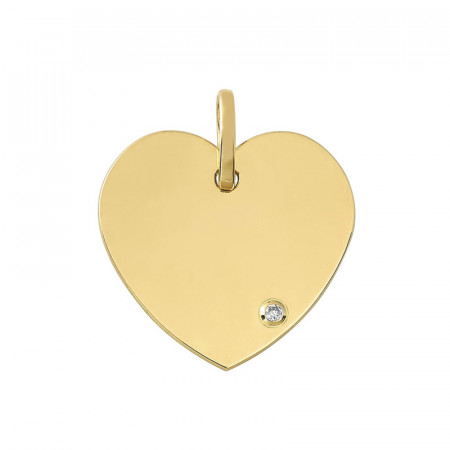 Pendentif coeur Or 18 carats Diamant , une medaille bapteme coeur élégante