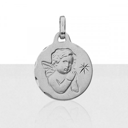 Médaille baptème Or blanc 375°°° ANGE & ETOILE