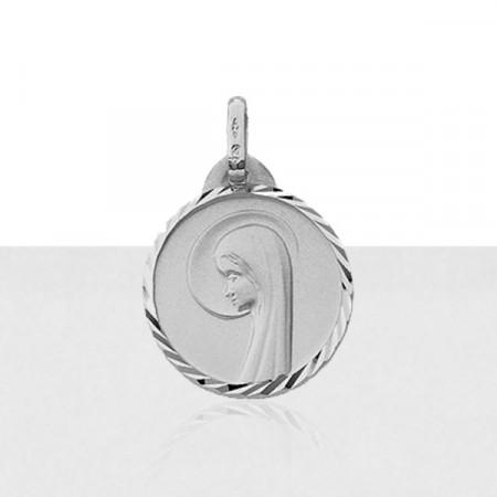 Médaille VIERGE DIAMANTEE Or blanc 375°°°