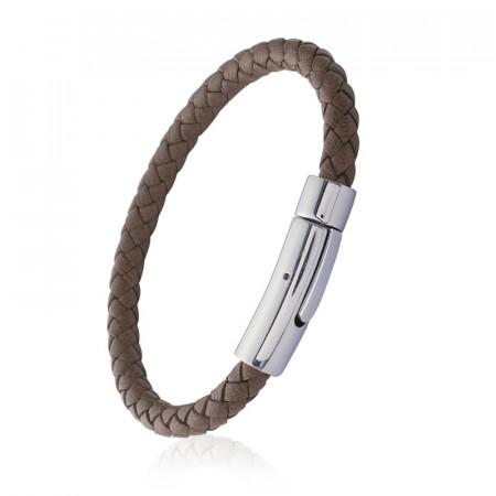 Bracelet MARRON CUIR TRESSE ACIER