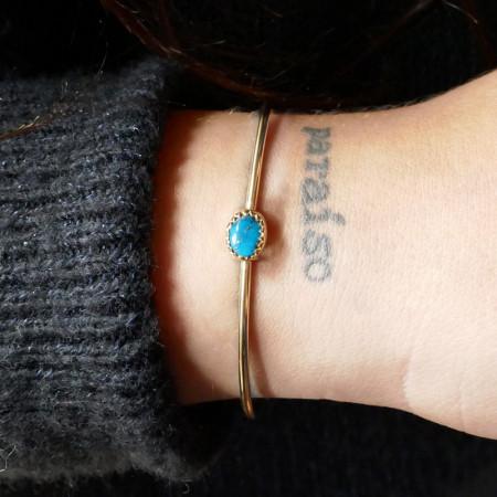 Bracelet Plaqué Or KHEOPS JONC 8/6 Turquoise