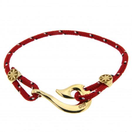 Bracelet Plaqué Or Hameçon Maori CAP COZ - rouge