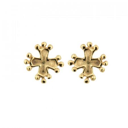 Boucle d oreille croix occitane Or 18 carats