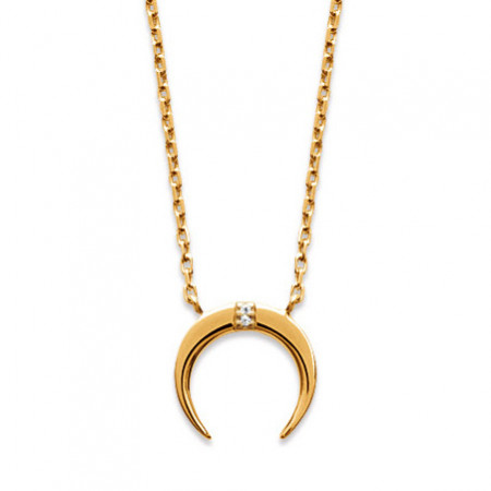 Collier Plaqué Or  LUNE Oxyde ASTRES