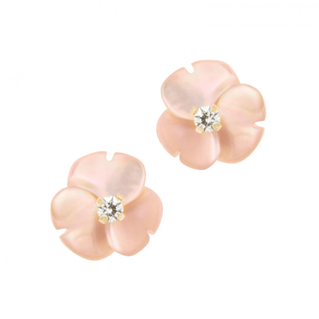 magasin meilleurs vendeurs bien pas cher collection entière Boucles d'oreilles FLEUR NACRE Rose Or 375°°° - VIS SECURITE