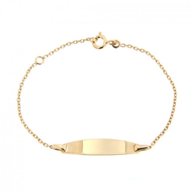gourmette b b plaque ovale perl e or jaune bijoux de naissance gar on. Black Bedroom Furniture Sets. Home Design Ideas
