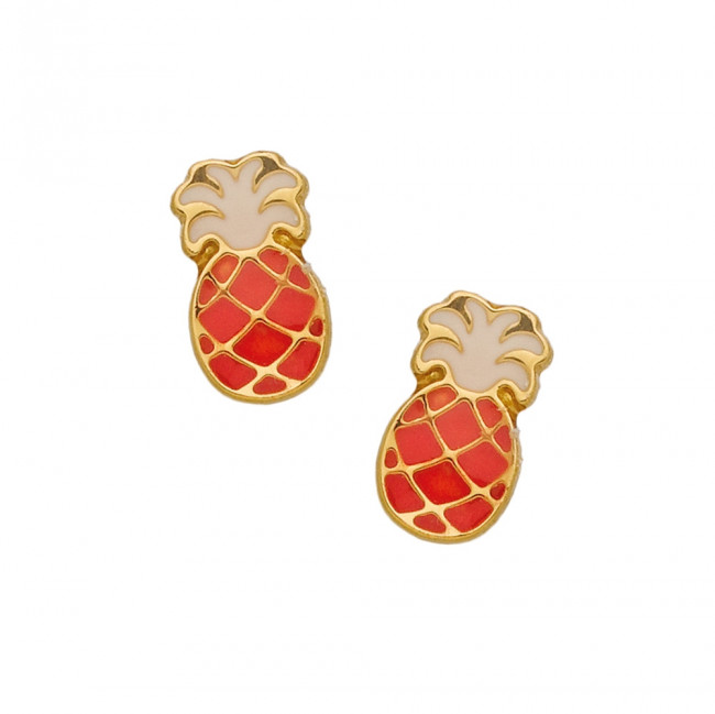 Boucle d 39 oreille ananas or jaune laqu bijoux enfant - Poussette de boucle d oreille ...