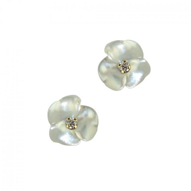 Boucles d oreilles FLEUR NACRE   ZIRCON Or 375 - VIS SECURITE ... 862e558a7de