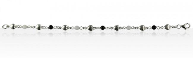 bracelet argent coeur boules noir blanc bijoux argent fantaisie madilar. Black Bedroom Furniture Sets. Home Design Ideas