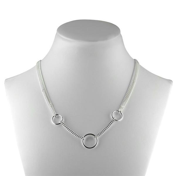 collier argent epure gourmette 3 anneaux bijoux fantaisie argent massif femme. Black Bedroom Furniture Sets. Home Design Ideas