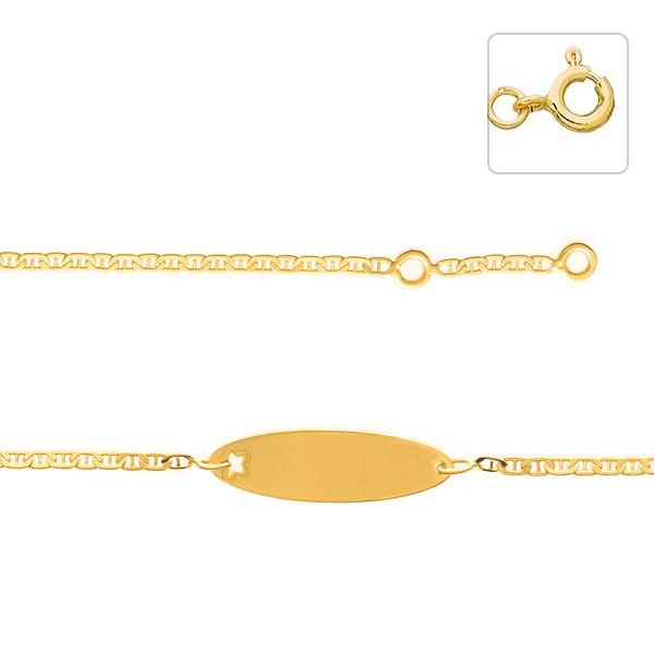 gourmette b b or 375 plaque etoile decoupee bracelet. Black Bedroom Furniture Sets. Home Design Ideas