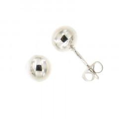 Boucles d'oreilles BOULE 6MM Or blanc 375°°° - Poussette