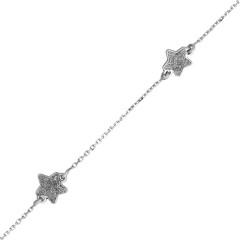 Bracelet ETOILES Paillettes Or blanc 375°°° - 16cm