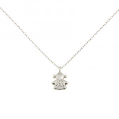 Collier petite fille Or blanc 375 - pendentif + chaine