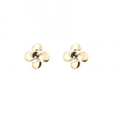 Boucles d'oreilles Croix BASQUE PALME PM Or jaune 375°°° SAPHIR 6x6mm