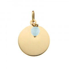 Médaille Or 375 Pierre de Naissance MARS - Jade bleu clair