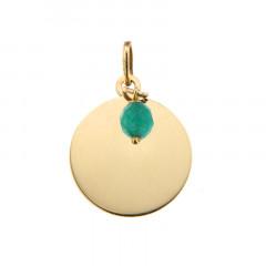 Médaille Or 375 Pierre de Naissance MAI - Quartz vert