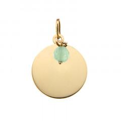 Médaille Or 375 Pierre de Naissance AOUT - Jade vert d'eau