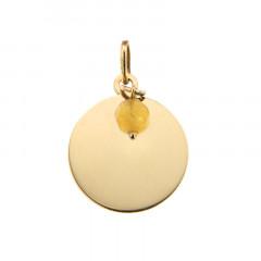 Médaille Or 375 Pierre de Naissance NOVEMBRE - Jade jaune