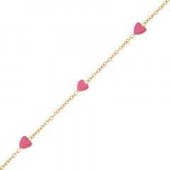 Bracelet Or 375°°° 5 COEURS ROSES