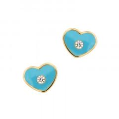 Boucles d'oreilles COEUR Bleu Oxyde Or 375°°° - VIS SECURITE
