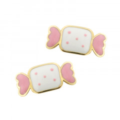 Boucles d'oreilles BONBON Rose & Blanc Or 375°°° - VIS SECURITE