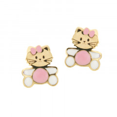 Boucles d'oreilles CHAT Noeud rose Or 375°°° - VIS SECURITE