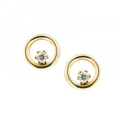 Boucles d'oreilles CERCLE Or 375°°° ZIRCONIUM serti- VIS SECURITE