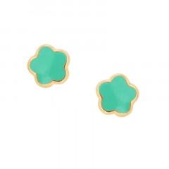Boucles d'oreilles FLEUR verte Or 375°°° - VIS SECURITE