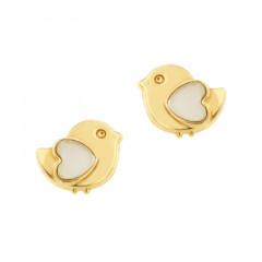Boucles d'oreilles POUSSIN COEUR NACRE Or 375°°° - VIS SECURITE