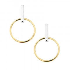 Boucles d'oreilles Or 375 °°° Cercle Barrette bicolore