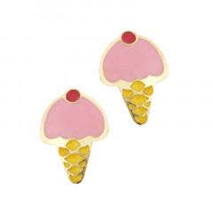 Boucles d'oreilles CORNET DE GLACE Or 375°°° - VIS SECURITE