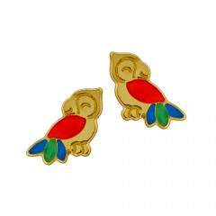 Boucles d'oreilles Or 375 °°°  PERROQUET laqué multicolore - VIS
