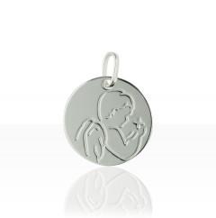 Médaille ANGE STYLISE & ETOILE Or blanc 375°°°