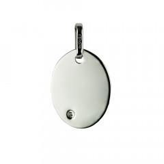 Médaille OVALE Diamant Or blanc 375°°°