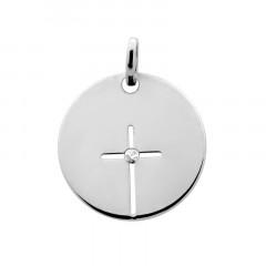 Médaille CROIX AJOUREE DIAMANT Or blanc 9 carats