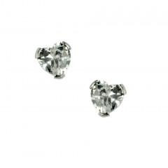Boucles d'oreilles Or blanc 375°°° OXYDE TAILLE COEUR  - VIS SECURITE