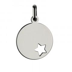 Médaille bapteme Or blanc 375°°° ETOILE AJOUREE