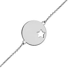 Bracelet identité médaille étoile Or blanc 375°°° - Ado/Adulte