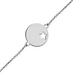 Gourmette bébé médaille étoile Or blanc 375°°°