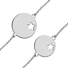 Bracelet personnalisé Maman Bébé Or blanc 375°°°