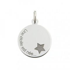 """Médaille """"Une étoile est née"""" Or blanc 375°°°"""